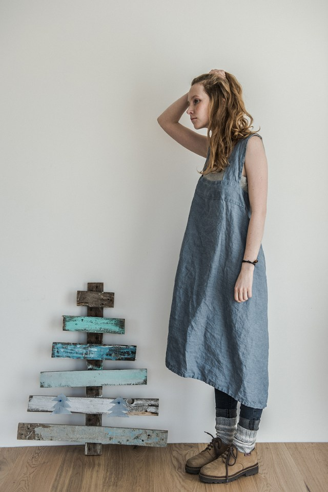swedish blue- long- square cross- japanese linen apron - pinafore