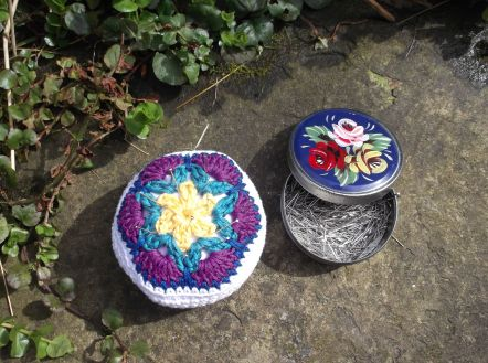 Completed African Flower pincushion