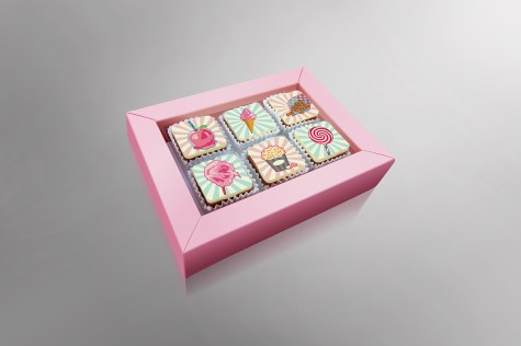 Realistic Illustration designs printed on chocolate. Complete image (Including the package / box) made with Illustrator and Photoshop
