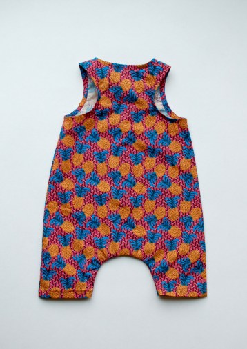 Raindance romper by Titchy Threads 0-2 mths in pineapple fabric