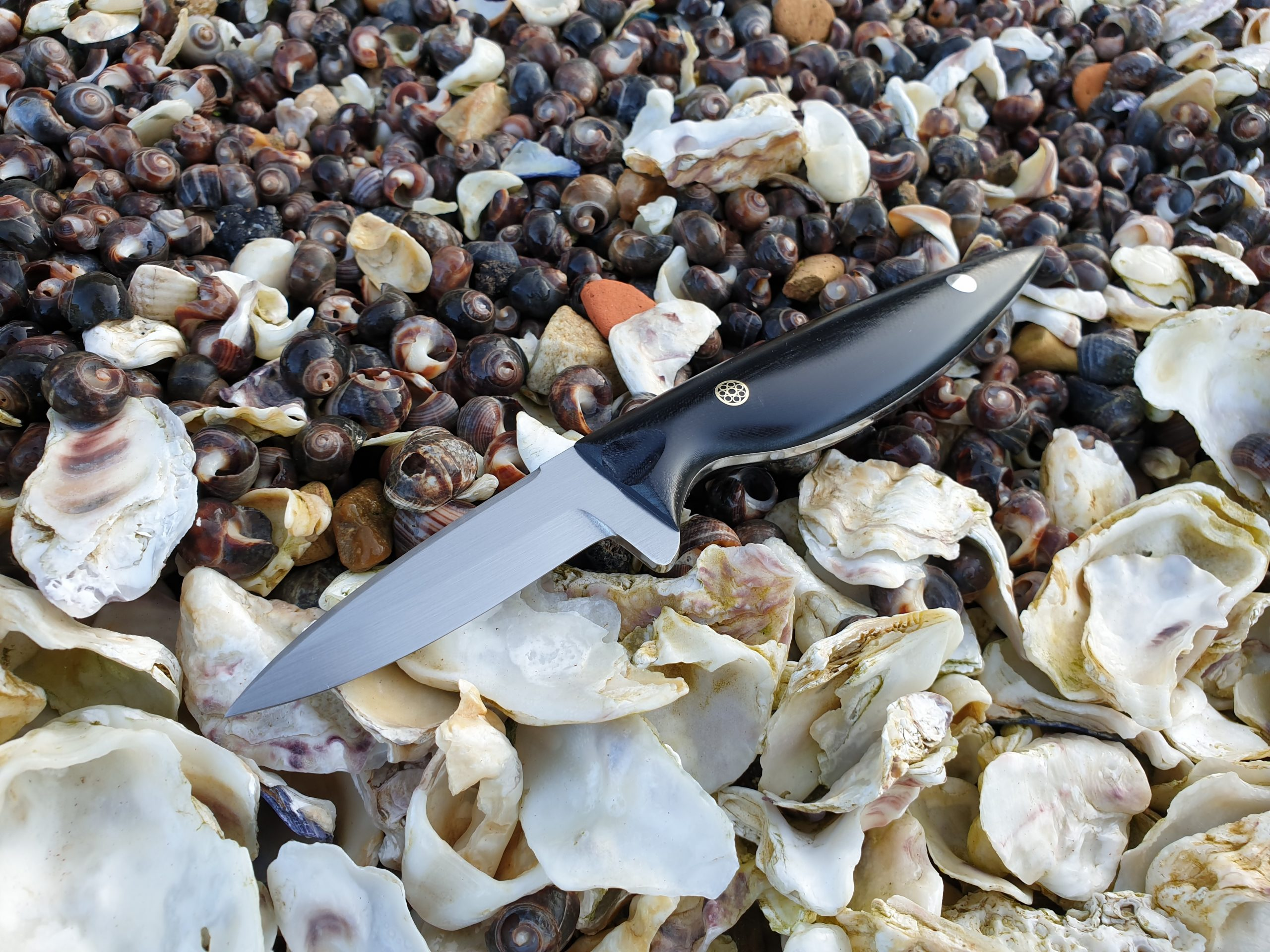 The Pearl oyster shucker with polished composite handles on top of oyster and other seashells.