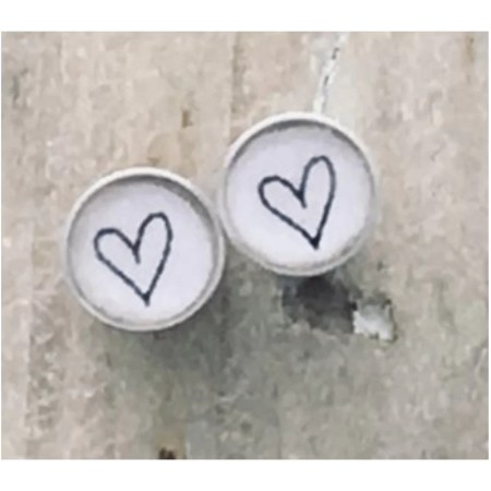 Clare Collinson - Heart Earrings White Hearts Small