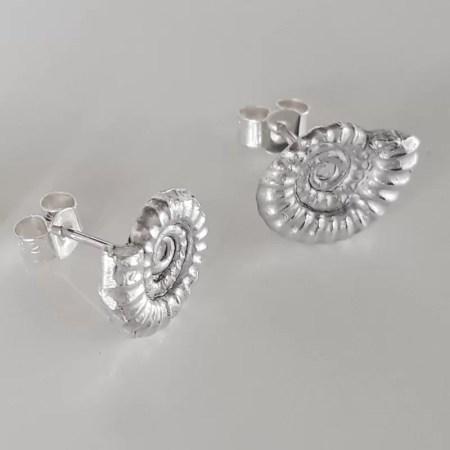Sarah Steele - Silver stud ammonite earring