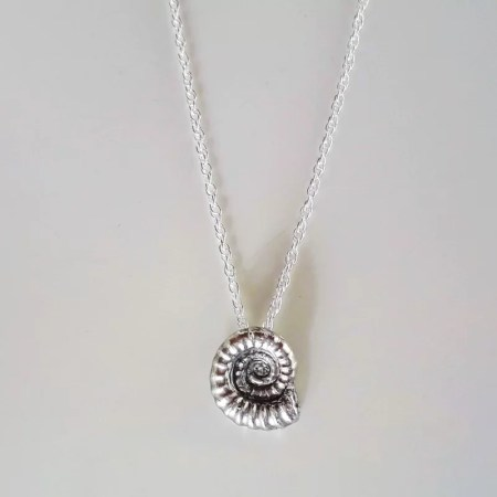 Sarah Steele - Silver ammonite necklace