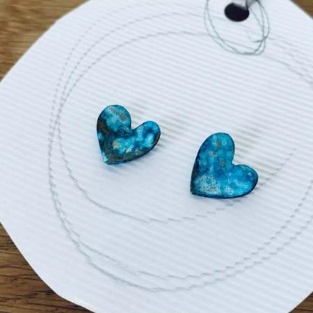 Stephanie Hopkins - patinated brass heart studs