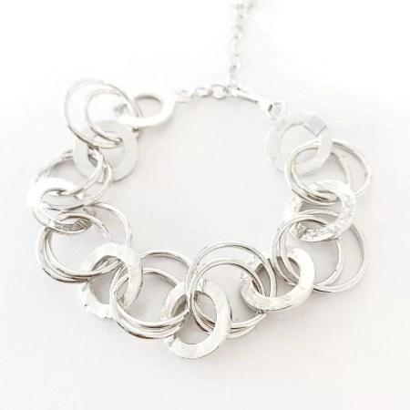 Janet Leitch - silver textures bracelet