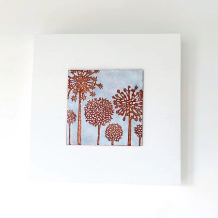 Janine Partington - alliums enamel copper panel