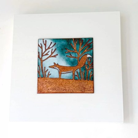 Janine Partington - Fox enamel copper panel