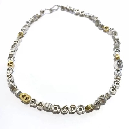 Fiona Hutchinson - silver and gilt cinnamon swirl necklace