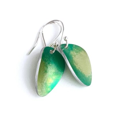 Lisa Marsella - Earrings green tone leaf shape.
