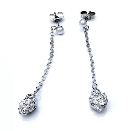Nobuko - Silver and Pearl drop earrings