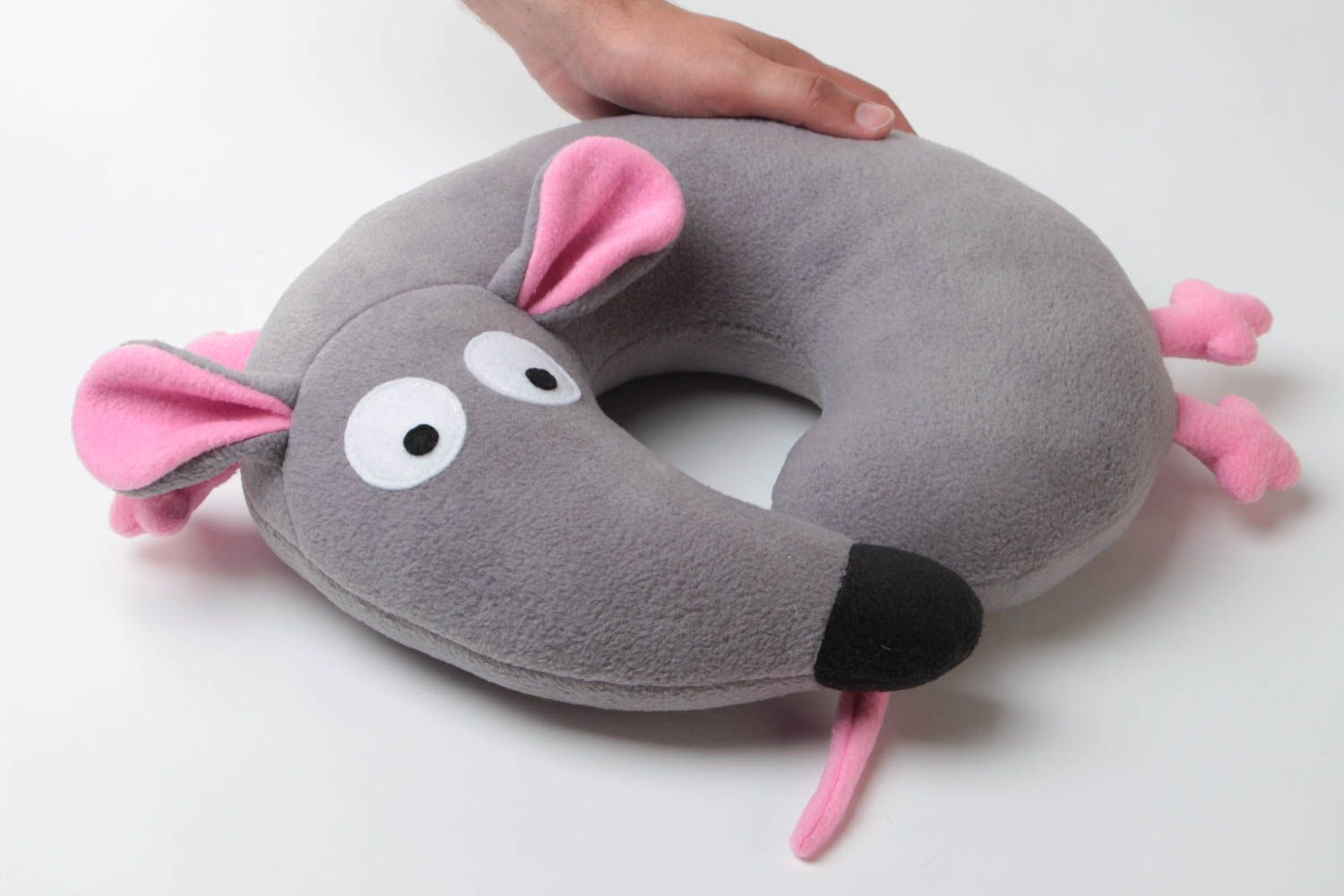small handmade travel pillow funny soft pillow pet gray mouse