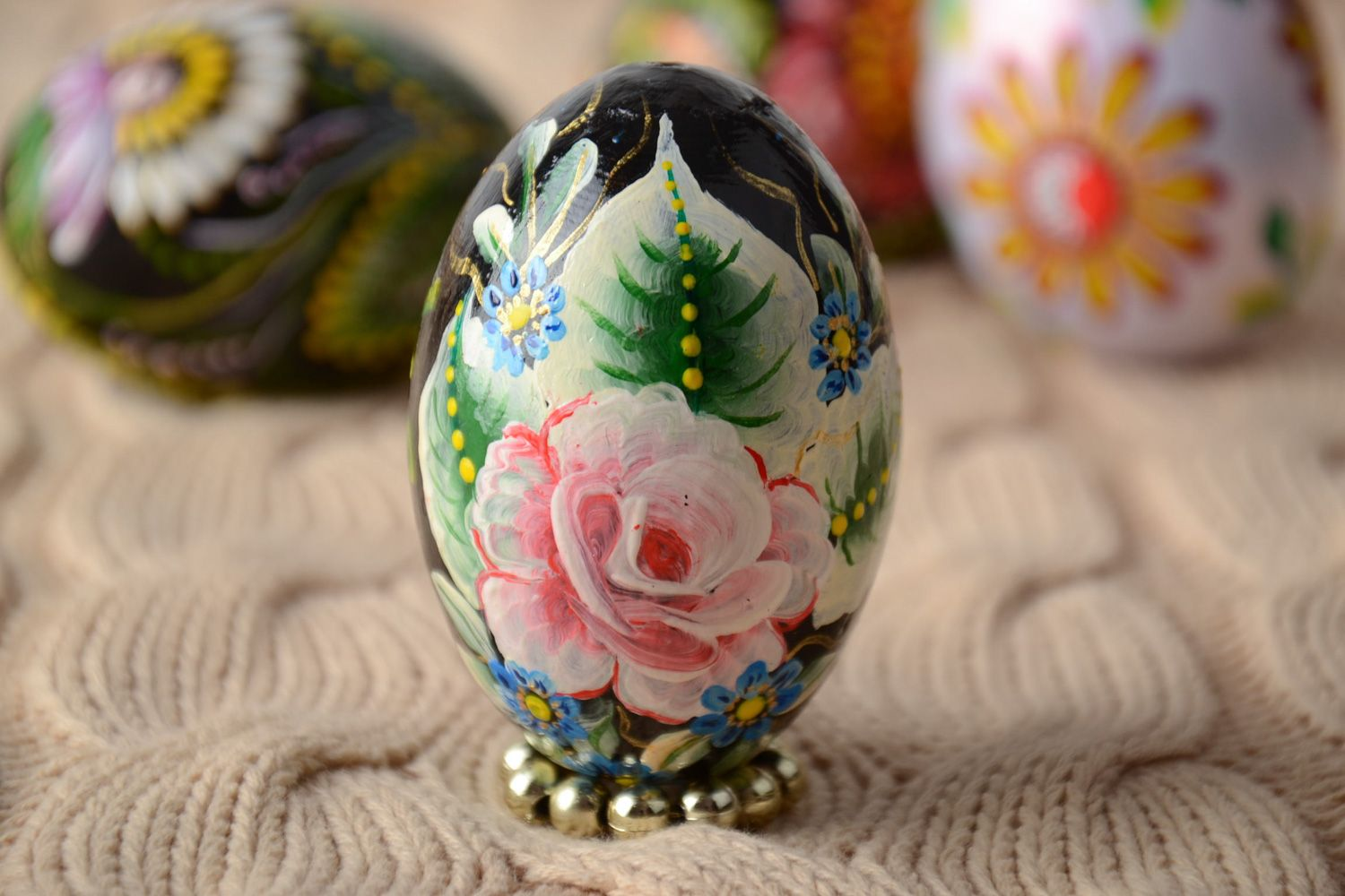 Handmade Carved Wooden Easter Egg Decorated Using One