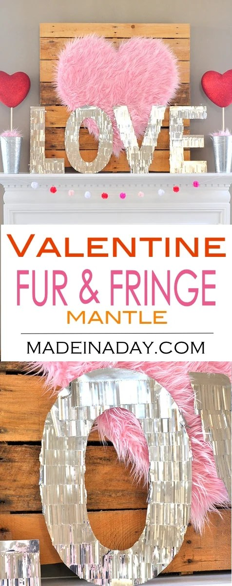 Valentine Heart Faux Fur Topiaries Mantle Decor Made