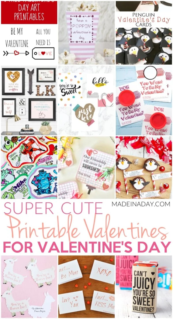 Super Cute Printable Valentines for Valentine's Day • Made ...