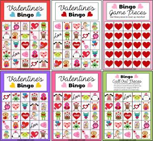 Valentine's Day Bingo board game