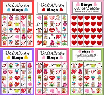 Valentine's Day Bingo board game