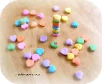 Valentine's Day candy heart stack game