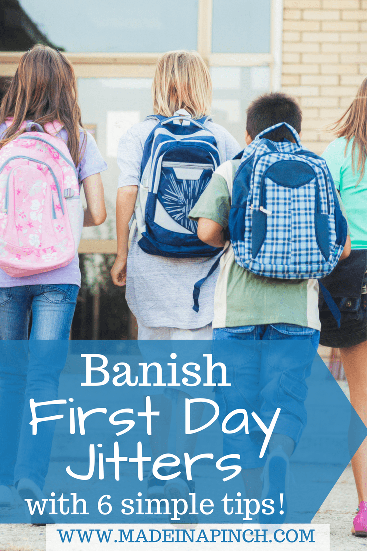 While it is normal for feel a little nervous on the first day of school, you can help your kids banish those first day jitters with our tips. For more helpful tips and recipes visit Made in a Pinch and follow us on Pinterest!