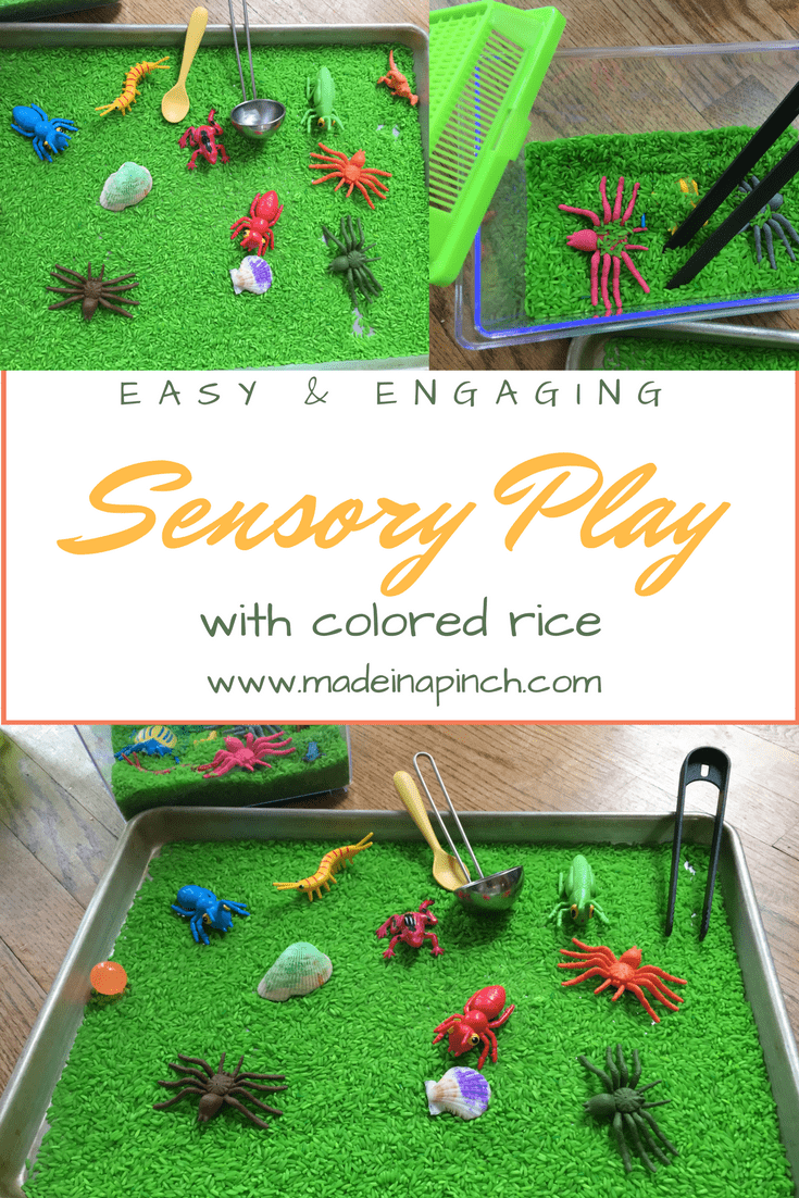 Sensory play pin for colored rice helps all kids with sensory development. For more helpful tips and recipes visit Made in a Pinch and follow us on Pinterest!