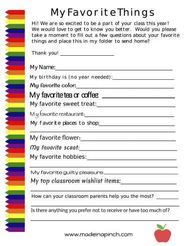 Teacher's favorite things printable