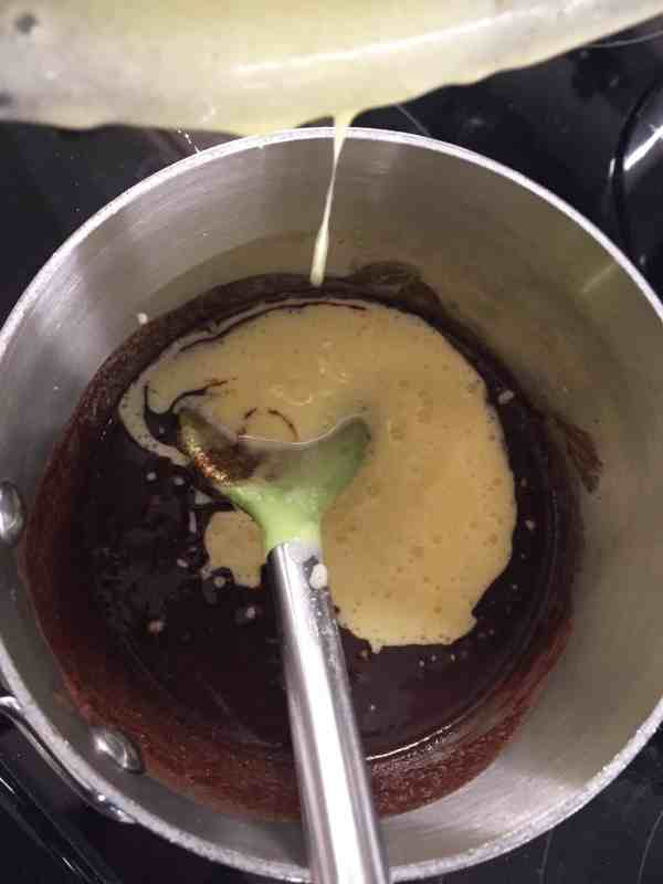 Melted chocolate and butter with sugar and eggs