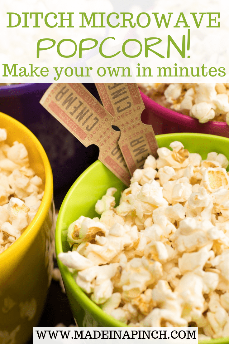 Save money and eat healthier by making your own delicious popcorn! To get our recipe and more visit Made in a Pinch and follow us on Pinterest!1