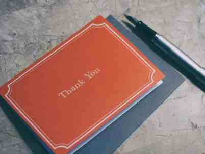 thank you card and pen