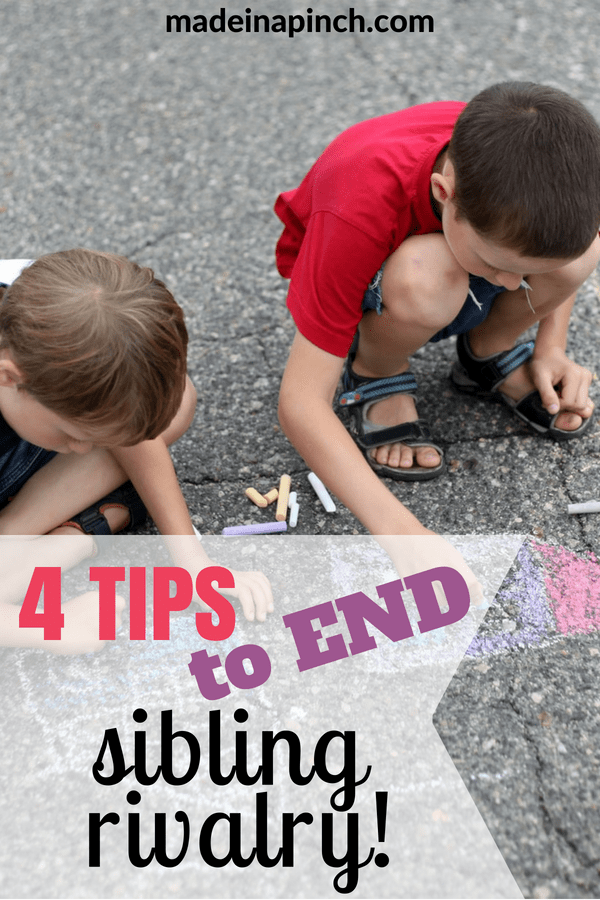 4 Simple and effective tips to show parents how to end sibling rivalry for good. Discover more parenting hacks and family lifestyle inspiration by following Made In A Pinch on Pinterest!