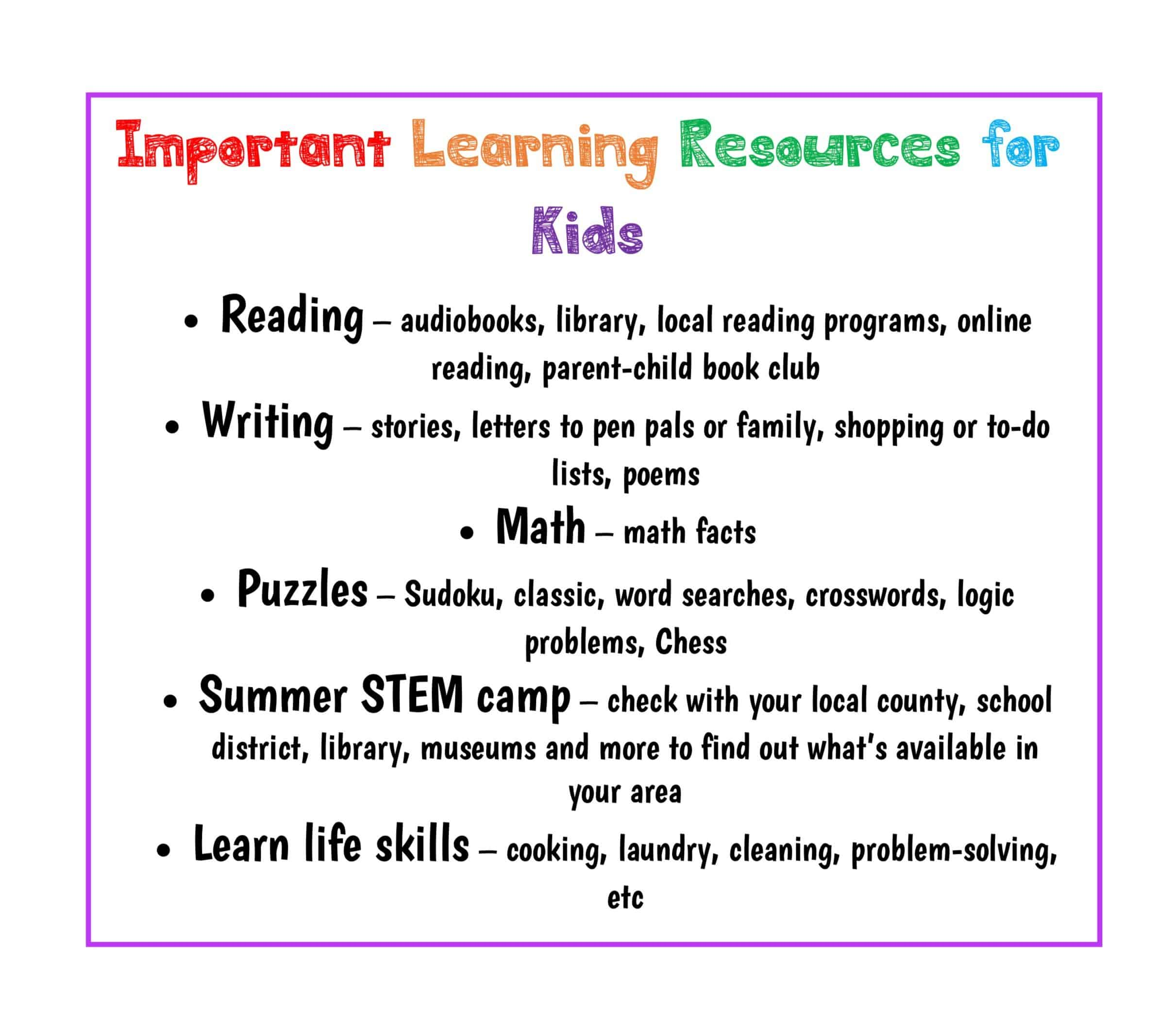 Learning resources for kids
