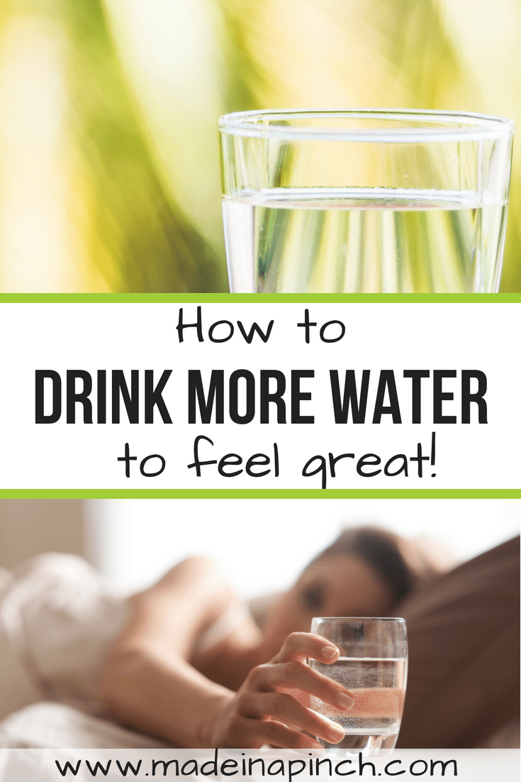 Drink more water each day with these simple to follow tips! For more helpful tips and delicious recipes visit Made in a Pinch and follow us on Pinterest!