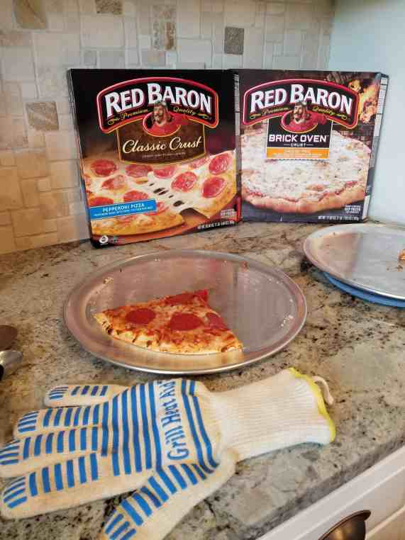 Red Baron pizza doesn't last in our house! Check out my simple tips for reducing summer chaos at Made In A Pinch! Red Baron pizza box with pizza leftovers shown