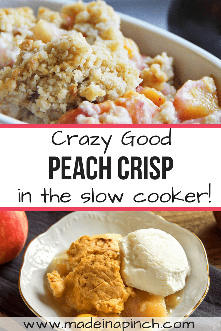 Peach crisp is one of the best summer desserts! Grab our easy slow cooker recipe at Made in a Pinch. For more awesome recipes and tips, follow us on Pinterest!