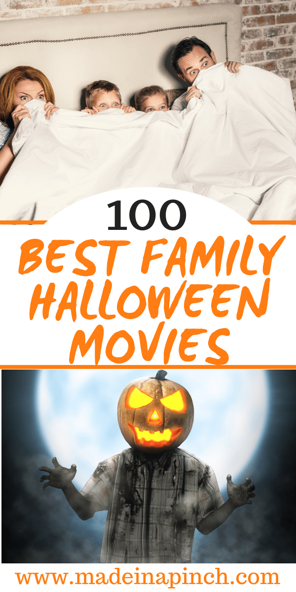 Grab our list of 100 of the best Family Halloween Movies on Made in a Pinch. For more great tips, resources and easy recipes, follow us on Pinterest!4