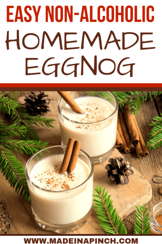 This classic eggnog recipe can be made kid-friendly or adults-only! Grab the recipe at Made in a Pinch, and for more simple recipes and helpful tips follow us on Pinterest!