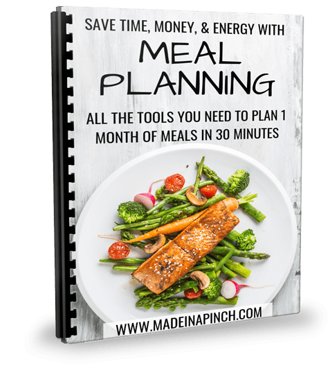 Save Time and money with meal planning. Get our meal planning package at Made in a Pinch. For more helpful tips and easy recipes, follow us on Pinterest!