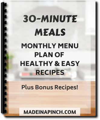 monthly meal plan of 30 minute meals
