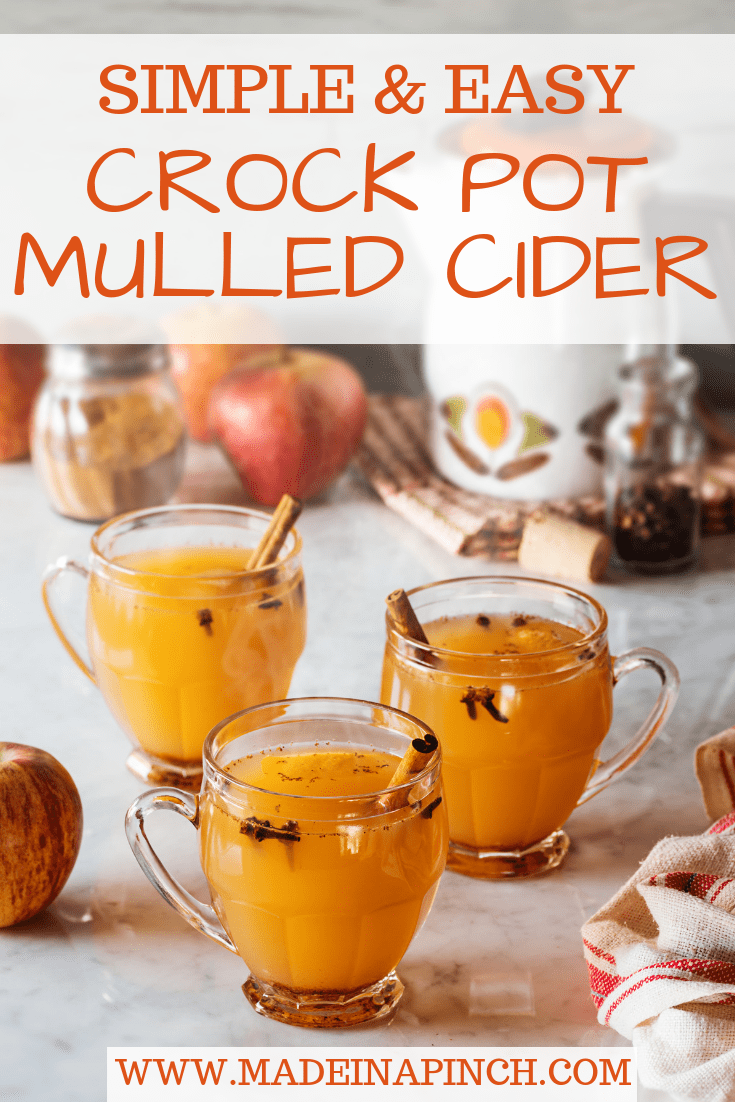 This easy crock pot mulled cider warms up the coldest of days! Grab our recipe on Made in a Pinch. For more delicious recipe and helpful family tips, follow us on Pinterest!