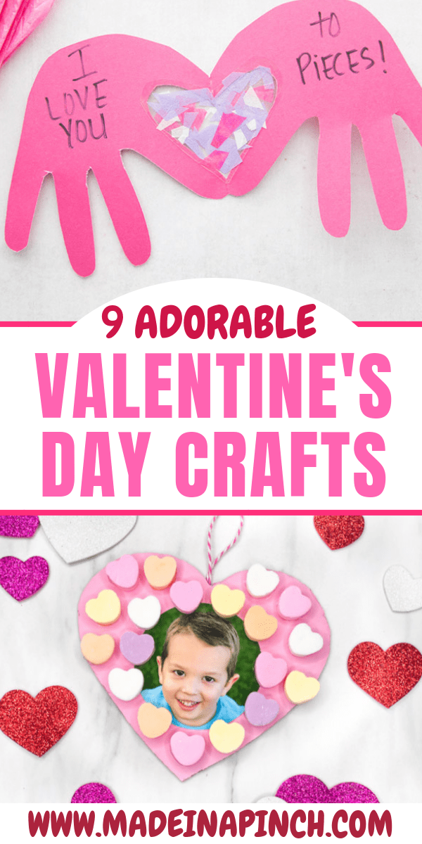 Easy Valentine's Day crafts for kids of all ages! Grab these ideas at Made in a Pinch and follow us on Pinterest for more great tips and great recipes.