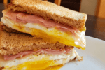Healthy breakfast sandwich provides great fuel for a great start to the day! Grab the recipe on Made in a Pinch and follow us on Pinterest for more easy family recipes!