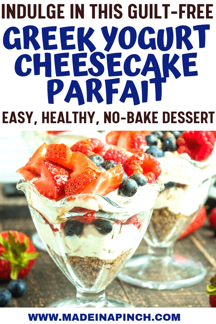 Greek yogurt cheesecake parfait with berries Pinterest Pin