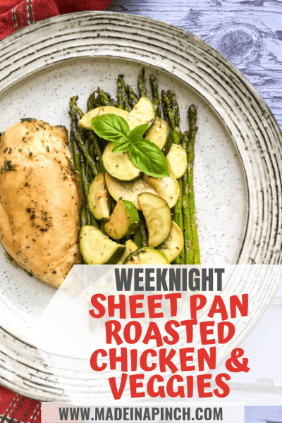 pin image for weeknight meal sheet pan roasted chicken