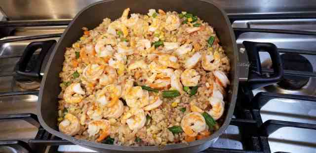Our Best Healthy Shrimp Fried Rice Recipe prepared in a pan on the stove