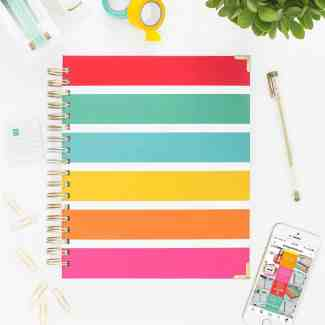 Signature Multistripe Living Well Planner cover design.