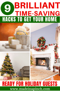 Pinterest Pin image for 9 Hacks for how to prepare your home for holiday guests