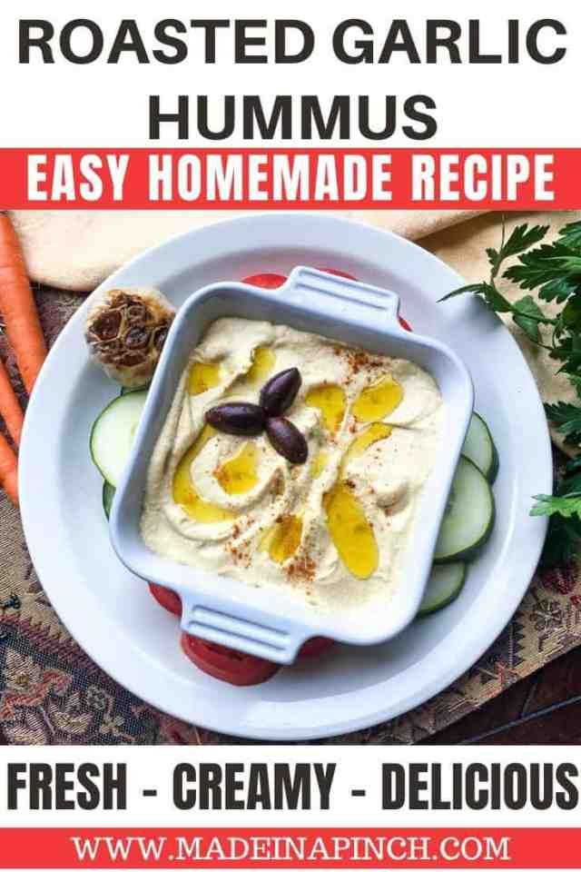 roasted garlic hummus recipe Pinterest pin