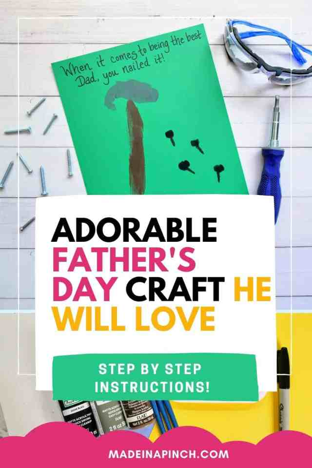 Father's Day crafts for preschool kids to give to dad that he'll love pin image