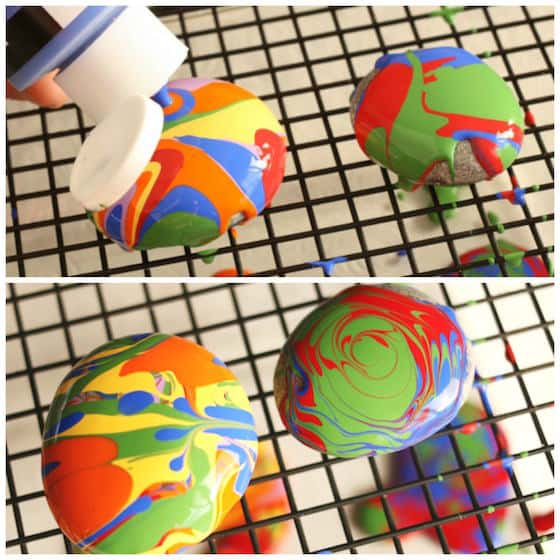 pour painted rocks craft paperweight as Father's Day Crafts for Preschool kids to make