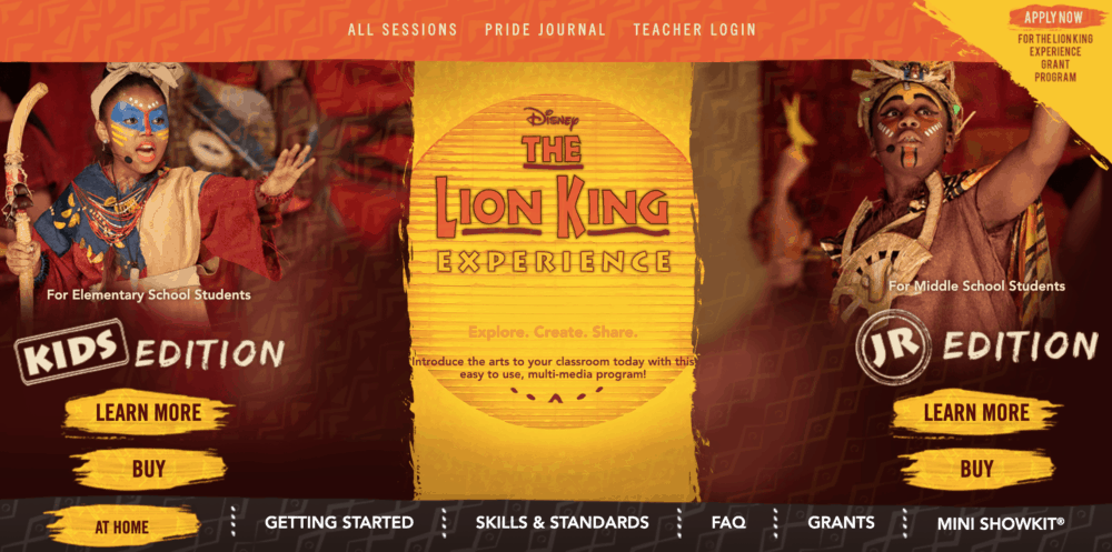 Lion King Experience Summer Camp homepage