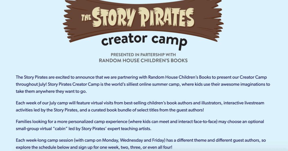 Story Pirates Creator Camp homepage